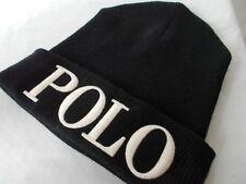 NWT Polo Ralph Lauren LOGO BEANIE Cuff Rib Knit BLACK /WHITE Winter Cap ADULT OS
