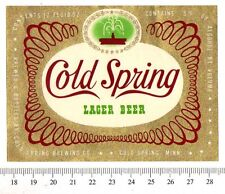 Beer Label - Cold Spring Brewery- USA - Cold Spring Lager Beer