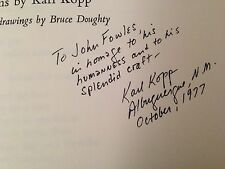 Karl Kopp - Yell County Machine Shop - Signed, letter and poem to John Fowles
