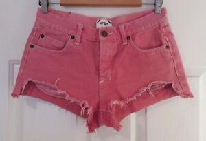 Ladies size 8 PINK BUTTON FLY Denim Short Shorts