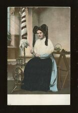 Social History Germany SPINNING lady national costume? c1900/10s? embossed PPC