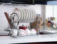 2Tier Stainless Steel Dish Rack Space Saver Dish Drainer Drying Rack for Kitchen