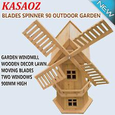 Outdoor Garden Windmill Wooden Decor Lawn Ornament Moving Blades Spinner Kasa 90