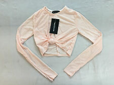 Pretty Little Thing Women's Zafia Knot Front Crop Top Nude TW4 Size 4 NWT