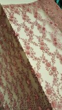 Dusty Rose Hand Beaded Lace 3d Chiffon Flowers Prom Fabric By The Yard Bridal