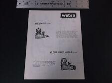 Vintage 1980 Webra 40 Fs & 40 Fsm Speed Plane Engine Ad Sheet 2-Sided Vg-Cond*
