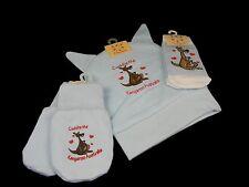 Australian Souvenir Australia Kangaroo Hat Beanie Mitten Sock Blue Baby Boy Set