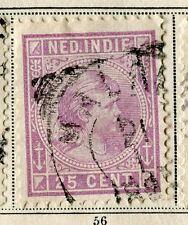 NETHERLANDS INDIES;  1892 classic Wilhelmina issue used 25c. value,