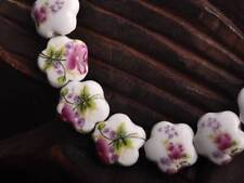 New Charms 10pcs 15x6mm Purple Red Flowers Pattern Ceramic Loose Spacer Beads