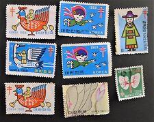 ✔ 9 South Korea Red Cross Tuberculosis Christmas Seal Stamps 1968 1969 1971 1973
