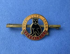 Vintage With Luck Glendalough Pin badge Ireland Lucky Black Cat Good Condition