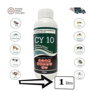 INSETTICIDA CY10 CONCENTRATO CIPERMETRINA MOSCHE ZANZARE VESPE PULCI ZE 1lt vebi