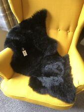 GENUINE Black Sheepskin Rug Thick Real Wool Traditional Luxury.