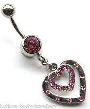 Belly Navel Bar - 8mm Medium Bar - Pink Crystal Gem - Heart in Heart