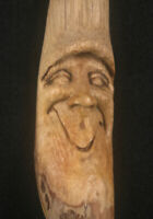 Hand Carved Wood Spirit Ornament Gnome Tree Face Wizard Gothic Carving Wiccan