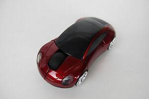 Porsche Car Optical Wireless Silent Mouse Portable Mini RED Color