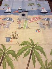 Summer Beach Ocean Palm Trees Sailboats Fabric Shower Curtain New