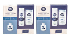 2x Nivea Men Clean & Fresh Gift Set Shaving Foam/After Shave Balm/Shower Gel