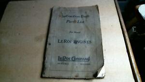 1926 Le Roi Engine Zenith Eisemann Parts & Instruction Book antique vintage old