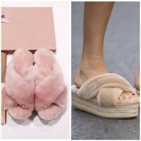 Shearling Sheepskin Sheep Fur Platform Espadrilles Slide Sandals Black Pink
