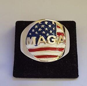 MAGA- MAKING-AMERICA-GREAT-AGAIN -ONE-OFF-RING - BRONZE -COSTUME-ENAMELED