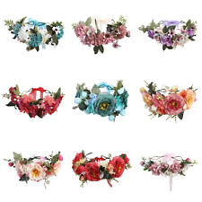 Women's Flower Crown Headband Hairband Wreath Hair Bands Floral Garland Ribbon