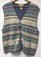 Woolrich Womens Size Extra Large Sweater Vest Blue Beige Full Zip Flower Pot