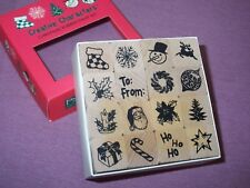 Christmas rubber stamp set~wood mounted~16 pieces-3/4
