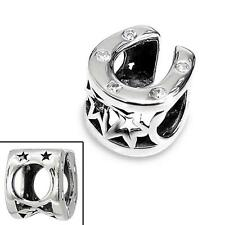 925 Sterling Silver Horseshoe Shaped Gems Good Luck Bracelet Charm Bead Box B268