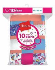 Hanes 10 Pack Girls Bikinis Underwear Cotton Breathable Preshrunk No Ride Up