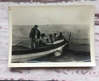 Group Photo on Fishing Boat Shore Lake Family Men Women Baby Vintage Snapshot