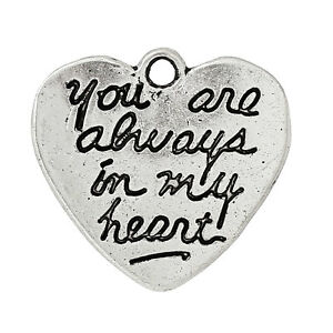 """5 x """"You are always in my heart"""" - Double-sided - Antique Silver - Pendant charm"""