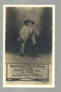 RPPC c1910 MIDGET Dwarf SIDESHOW Carnival Circus COWBOY CIGAR Baron de Barray