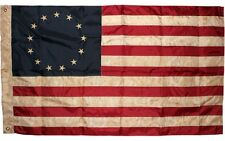 Vintage Betsy Ross Flag 3x5 ft 210D Nylon Tea-stained Antiqued Grommets & Sleeve