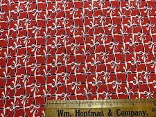 Vintage Cotton Feedsack Fabric 30s40s Blue&White Bows on Red NOVELTY  EXC