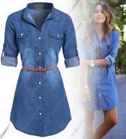 Womens Plus Size 16 - 24 Longline Denim Shirt Dress Ladies Jean Dresses 18 20 22