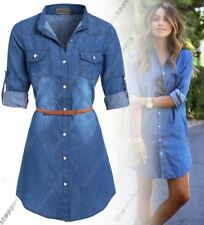 719c239285f Womens Plus Size 16 - 24 Longline Denim Shirt Dress Ladies Jean Dresses 18  20 22