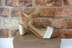 COLLECTION BY CLARKS TAN & CREAM TEXTILE & SUEDE ANKLE STRAP SANDALS SIZE 4
