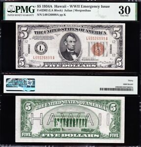 AWESOME Crisp Choice VF++ 1934 A $5 HAWAII Fed Reserve Note! PMG 30! L69126899A