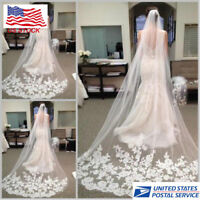 3 M Cathedral Length Lace Edge Bride Wedding Bridal White Ivory Long Veil W/Comb