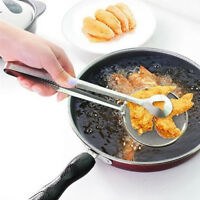 Stainless Steel Filter Spoon with Clip Design Kitchen Fried Gadget Accessory