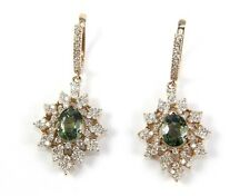 Fine Round Green Sapphire Drop Earrings w/Diamond Accents 14K Rose Gold 8.61Ct