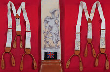 Vintage Made in England Gentelmans Nude Bathing Goddess Silk Suspenders Braces