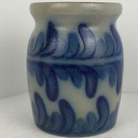 Vintage Signed Blue Salt Glazed Pottery Utensil Crock Ferns 1992