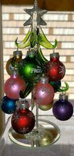 Disney Arribas FROZEN Glass Tabletop Mini Christmas Tree & Ornaments Anna Elsa