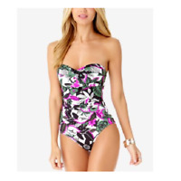 Anne Cole Floral Twist Ruched Bandeau One Piece Size 8 Boho Babe Pink Green New