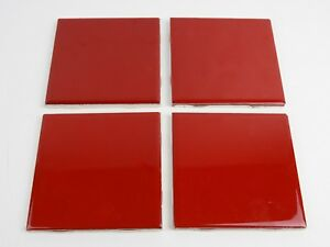 """4 pcs. Glossy Ceramic Tiles Ruby Red by American Olean 4-1/4"""" Bright Vivid Color"""