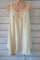 Jorge Top Tank Blouse Size 12 Medium Beige Cream Sleeveless Lace