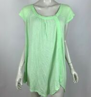 Free People Solid Green Short Sleeve Tunic Top Blouse Shirt Women Medium NWT
