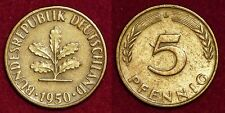 GERMANY Deutschland Allemagne 5 pfennig 1950D
